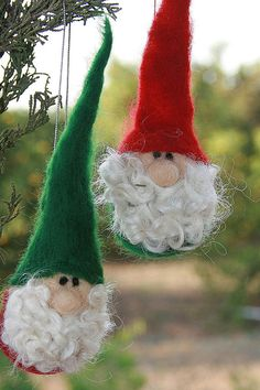 Needle Felted Gnome Christmas Tree Ornament by heartfeltpassion, $35.00