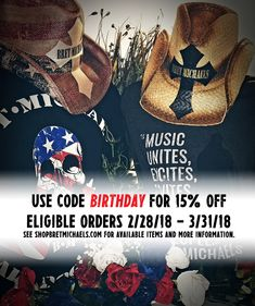 To celebrate Bret's birthday on 3/15, beginning today 2/28/18 - 3/31/18 get 15% off eligible orders at ShopBretMichaels.com, your only online source for officially licensed, vintage and rare Bret gear! - Team Bret #Creative #Craft #Art #PartyStartsNow #WinItWednesday #Contest #ShareThis   http://bretmichaels.com/site-news/news2/celebrate-brets-birthday-with-15-off-shopbretmichaels-com/