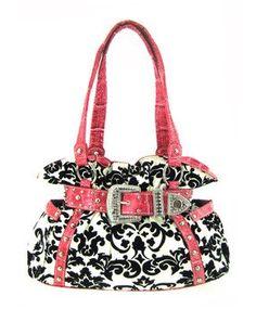 Rhinestones Front Buckle Handbag