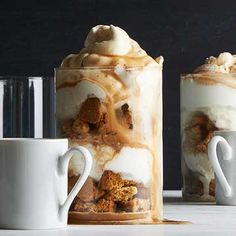 Affogato Trifles: biscotti, ice cream, whipped cream