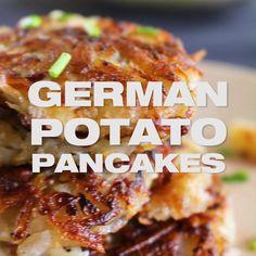 Shredded Potatoes turned into seasoned crispy potato pancakes. Polish Potato Pancakes, German Potato Pancakes, Pancakes Easy, Savory Pancakes, Potato Dishes, Food Dishes, Side Dishes, German Potatoes, Shredded Potatoes