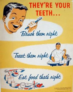 Vintage Original 1957-60 They're Your Teeth Dental Educational Display Poster