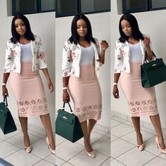 A imagem pode conter: 3 pessoas, pessoas em pé Corporate Attire, Corporate Fashion, Business Casual Attire, Stylish Work Outfits, Classy Outfits, Chic Outfits, Look Street Style, Latest African Fashion Dresses, Look Fashion