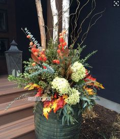 Fall container plantings ornamental kale chartreuse sweet potato vines and variegated vinca - Potted autumn flowers ...