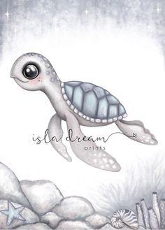 Kai the sea turtle print – Isla Dream Prints Nursery Prints, Nursery Art, Cute Turtles, Sea Turtles, Baby Turtles, Texture Art, Under The Sea, Cute Animals, Mermaid