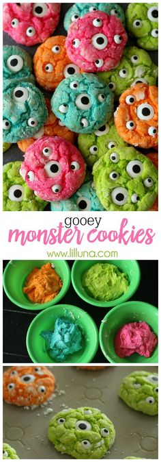 Halloween Party Treats Appetizers and Desserts Recipes - Gooey Delicious Monster. - Halloween Party Treats Appetizers and Desserts Recipes – Gooey Delicious Monster Cookies Recipe v - Halloween Desserts, Postres Halloween, Halloween Party Treats, Hallowen Food, Fete Halloween, Halloween Goodies, Snacks Für Party, Halloween Cupcakes, Holiday Treats