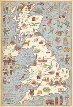 United Kingdom Map from the book Maps, written and illustrated by Aleksandra Mizielinska and Daniel Mizielinski