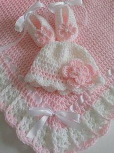 Items similar to Crochet Baby Set Blanket Hat & Booties Pink White Christening Baptism Granny Handmade Crochet Baby Shower Gift on Etsy Baby Girl Crochet Blanket, Crochet Baby Clothes, Newborn Crochet, Crochet Flower Patterns, Afghan Crochet Patterns, Baby Patterns, Crochet Bebe, Crochet For Kids, Hand Crochet
