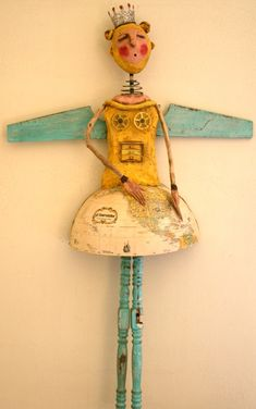 "blue winged angel with spindle legs wooden assemblage altered folk art ""The Good Rise Up"" by Chari Roberts Peak crown skirt"