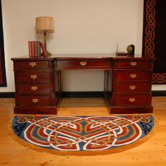 Circular wool area rug