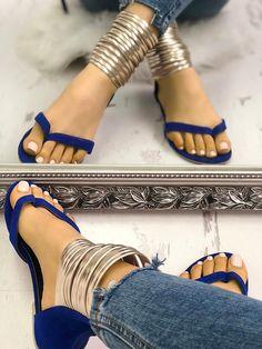 27c707e7ab341 Metallic Embellished Flip Flops Platform Sandals. Flat SandalsGladiator  Sandals OutfitShoes ...