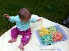 Here is a wonderful sensory play idea for children of all ages, especially babies and toddlers. Spaghetti play is easy to set up and lots of fun.