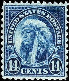 The American Indian, a US .14¢ stamp issued in 1931