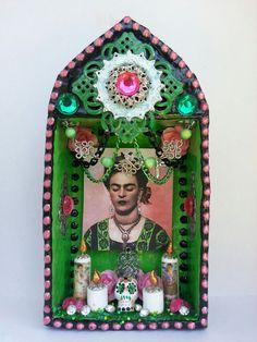 Colorful Art Deco Pink Frida kahlo Temple Shrine
