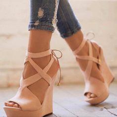 Plain Peep Toe Lace-Up Wedge Sandals - Elegante Schuhe Lace Up Wedge Sandals, Lace Up Wedges, Heeled Sandals, Shoes Heels Wedges, Sandals Outfit, Flats, Blush Wedges, Wedge High Heels, Strappy Wedge Heels