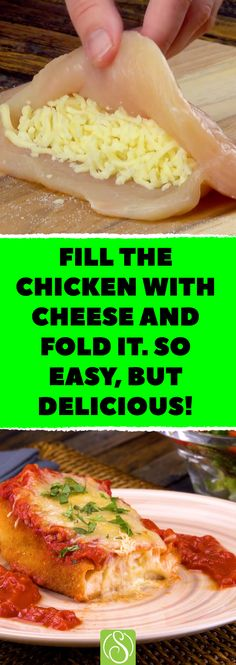 Fill the chicken with cheese and fold it. So easy, but delicious! *This cheese-stuffed chicken breast is so light and fluffy, you'll swear you're in heaven! Chicken And Cheese Recipes, Cream Cheese Chicken, Chicken Parmesan Recipes, Easy Chicken Recipes, Meat Recipes, Mexican Food Recipes, Cooking Recipes, Chicken Stuffed With Cheese, Stuffed Chicken Parmesan