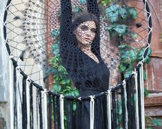 Large dreamcatcher wall hangings and photo props by FeatherFromTheForest Giant Dream Catcher, Dream Catchers, Crochet Dreamcatcher, White Boho Dress, Boho Baby Shower, Estilo Boho, Color Rosa, Girls Be Like, Perfect Photo