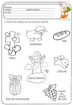 Atividade pronta - Temática páscoa Bible Crafts For Kids, Bible Lessons For Kids, Learning Activities, Activities For Kids, Portuguese Lessons, Kids Homework, Kids Church, Bible Stories, Kirchen