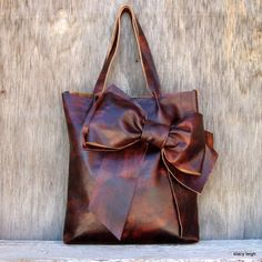RESERVED for SummerBrooks Leather Bow Tote in Vintage Patina Leather by Stacy Leigh Ready to Ship
