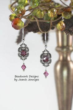 Avalon Rose Satin Swarovski Crystal & Pearl Beadwoven Earrings