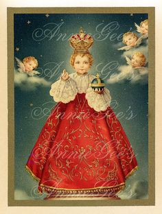 Infant of Prague Holy Card by AnnieGees