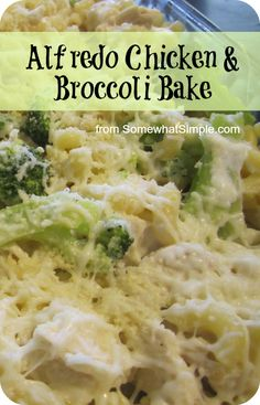 Your family will LOVE this Alfredo Chicken & Broccoli Bake! Recipe via Somewhat Simple