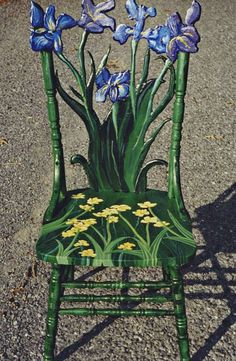 'flower chair' I need a chair like this, only with Columbines instead of Iris and buttercups