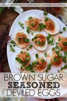 Brown Sugar Seasoned Deviled Eggs - It doesn't take much to turn an ordinary everyday deviled egg into something truly quite remarkable. A few common pantry seasonings, like celery seed, chili powder, sweet paprika, ground cumin, onion powder, salt, and pepper can really make a dramatic difference when combined with a little bit of light brown sugar and mayonnaise. So, the next time you're craving deviled eggs, definitely give this sweet and flavorful appetizer recipe a go. Egg Recipes, Appetizer Recipes, Appetizers, Delicious Dinner Recipes, Great Recipes, Avocado Deviled Eggs, Rich Recipe, Pinterest Recipes, Chili Powder