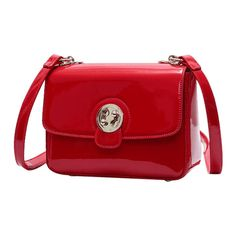 Metal Stitching Patent Leather Crossbody Bag Red ($23) ❤ liked on Polyvore featuring bags, handbags, shoulder bags, zaful, red cross body purse, patent leather handbags, crossbody shoulder bag, cross-body handbag and red purse