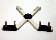 Hockey Stick Medal Hanger White Finish with Puck by HockeyMarket, $24.50