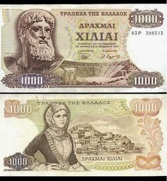 Greece, 1000 Drachma note ,old 1970 one. Zeus on the front, Hydra Is . Greek History, Greek Culture, Old Money, World Coins, Athens Greece, My Memory, Archaeology, Vintage Posters, Childhood Memories