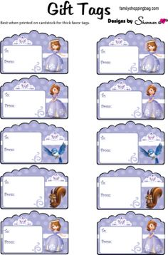 Gift Tags ♥ Sofia the First