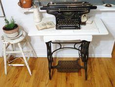 Treadle sewing machine and old typewriter butcher block, sewing machines, machin cabinet, machin base, hous idea, sew machin, antiqu