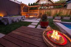 Just finished project!  Backyard Jacuzzi with Wooden Pine Deck Plans -- Sp8ce.Design