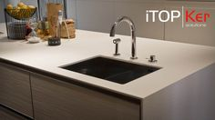 Kitchen #countertop made with Foster iTOPKer Blanco Plus colour and Bush-hammered finishing. Pure aesthetic and trendy texture.