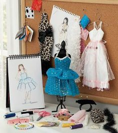 Fashion Design Studio Kit, 30-Pieces by HearthSong®. $34.98. Includes over 30 pieces. A mannequin to see how fabrics express your design. For Ages 9 and Up. Drawing paper pad for the sketching phase. Embellish a white satin gown to design your own prom dress. What's it like to be part of a fashion design team? Find out firsthand. Use this fun kit's drawing paper pad for the sketching phase and its mannequin to see how well different fabrics express your design. Try em...