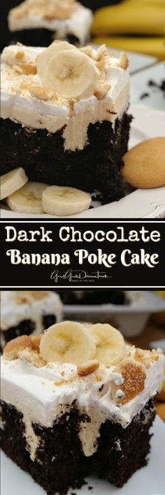 Dark Chocolate Banana Poke Cake is filled with a banana cream cheese filling, to. Dark Chocolate Banana Poke Cake is filled with a banana cream cheese filling, topped with cool whip, vanilla wafers and banana slices. Banana Dessert Recipes, Poke Cake Recipes, Poke Cakes, Dump Cakes, Layer Cakes, Dark Chocolate Cakes, Chocolate Desserts, Chocolate Banana Cupcakes, Chocolate Cream Cheese Frosting