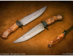 Some amazing work by @freehillblades showing a hamoned bowie with stabilized spalted maple burl. Awesome work. I just sent a large box of maple burl off to k&g!