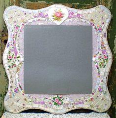 Mosaic Romantic Mirror with Vintage China via Etsy