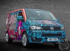 This unique finish applied to a Transporter looks funky - We can design, print and apply high quality vinyl finishes to any vehicle as part of our service at Vw Transporter Van, Vw T5, Foodtrucks Ideas, T6 California, Car Camper, Camper Van, Vehicle Signage, Painted Vans, Van Wrap