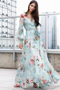 Maxi Wrap Dress, Floral Maxi Dress, Dress Skirt, Dress Up, Floral Frocks, Sheath Dress, Elegant Dresses, Beautiful Dresses, Casual Dresses