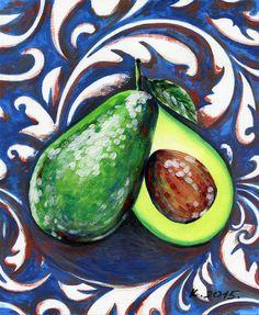 Avocado, fruit, still life, tempera, Artist, Original Painting Art, Illustration #IllustrationArt