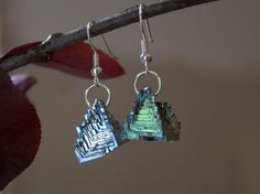 Bismuth Crystal Earrings Beautiful Colors by bismuthcrystalarts, $16.99