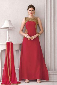 Red #Georgette #Anarkali Salwar Suit with Work