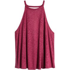 H&M Top in slub jersey (15 BAM) ❤ liked on Polyvore featuring tops, shirts, tank tops, tanks, t o p s, plum, purple shirt, plum top, deep v neck top and h&m tops