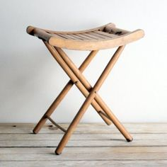 Vintage Wooden Folding Stool