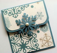 Holiday Gift Card Holder  Blue Snowflake Gift Card by TerrysCards, $2.75