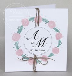 Rustykalne zaproszenie z różami Place Cards, Place Card Holders, Handmade, Hand Made, Handarbeit