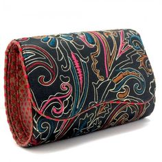 Embroidered Satin Clutch