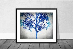 Blue Tree Print Digital Painting Cyanotype Landcape Tree
